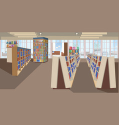 Modern library interior empty no people bookstore vector