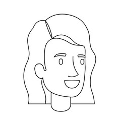 Monochrome silhouette of woman face with short and vector
