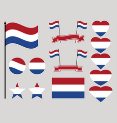 netherlands flag set collection of symbols heart vector image