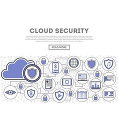 Network cloud security linear style infographics vector
