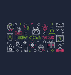 new year 2019 horizontal banner outline vector image
