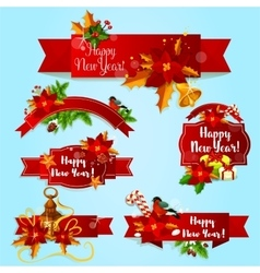 New year holiday red ribbons and labels vector