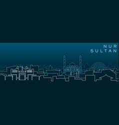 Nur-sultan multiple lines skyline and landmarks vector