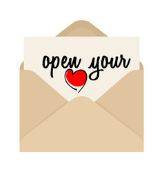 Open your heart drawing inscription and opened vector
