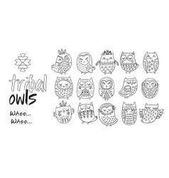 Outline hand drawn tribal owl set vector