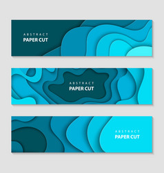 paper cut waves shape abstract template deep blue vector image