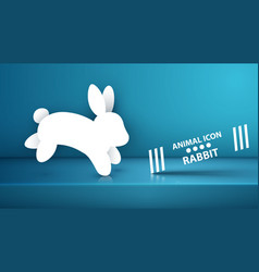 paper rabbit icon on the blue studio vector image