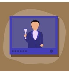 Paper sticker on stylish background president tv vector