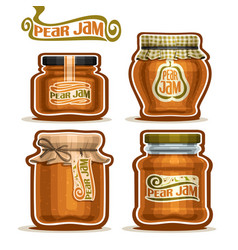 Pear jam in glass jars vector