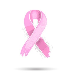 Pink breast cancer ribbon for support vector image