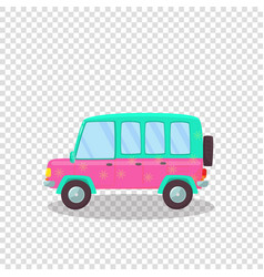 Pink green colorful modern car with flowers print vector
