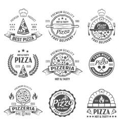 Pizzeria Black White Emblems vector image