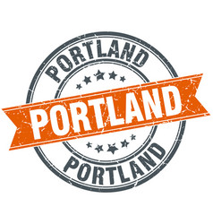 Portland red round grunge vintage ribbon stamp vector