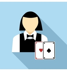 Pretty croupier woman with cards icon flat style vector