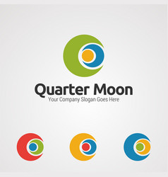 quarter moon hug human logo icon element and vector image