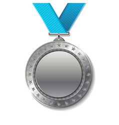 realistic 3d silver trophy champion award medal vector image