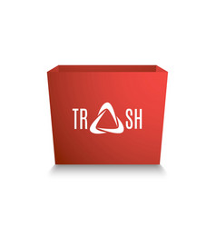 red box with a white inscription - trash stylized vector image