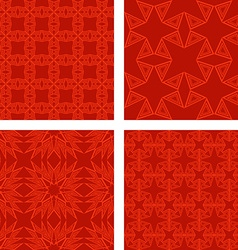 Red seamless triangle pattern background set vector