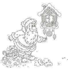 Santa winding up his cuckoo-clock vector