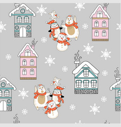 seamless pattern christmas characters and houses vector image