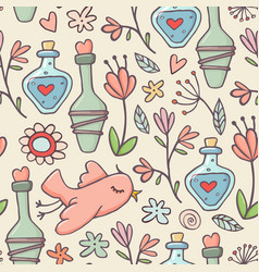 seamless pattern potions birds flowers yellow vector image