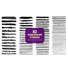 Set 82 hand drawn texture brush pencil vector