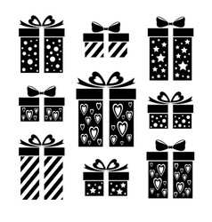 Set gift icons collection of gift box signs vector