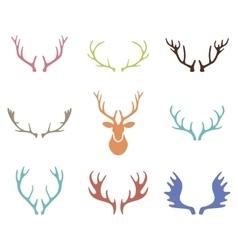 set hand drawn deer horns on white vector image