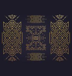 set of art deco golden borders frames vector image