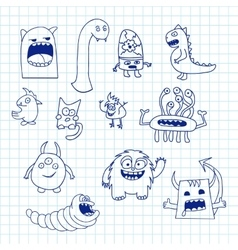 Set of doodle monsters icons vector