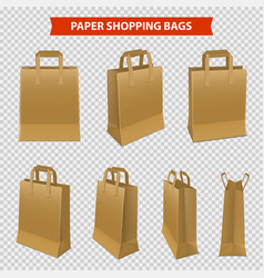 set paper bags for shopping vector image