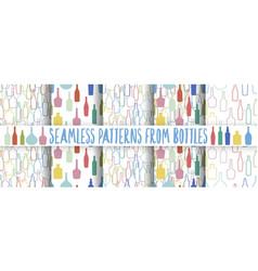 set wine bottles pattern vector image