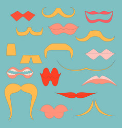 set with colorful icons of moustaches and lips vector image