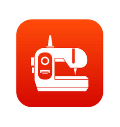 Sewing machine icon digital red vector