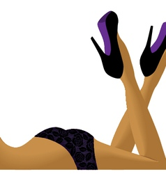 Sexy female legs in shoes with space for text vector image