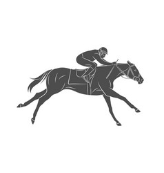 silhouette racing horse with jockey on a white vector image