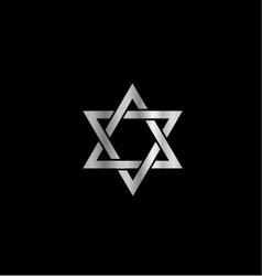 Silver Star of David- Jewish vector image