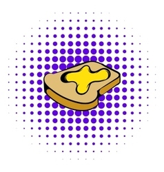 Slice of bread with honey icon comics style vector