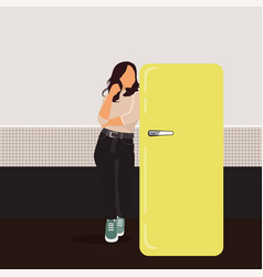 slim young woman in kitchen near refrigerator vector image