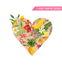 summer design with tropical fruits heart shape vector image