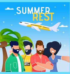 summer vacation airplane trip flat banner vector image