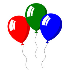 three balloons bright colors on white background vector image