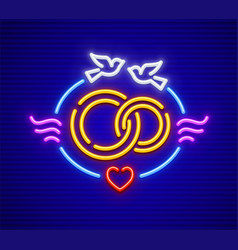 Wedding and marriage neon icon vector