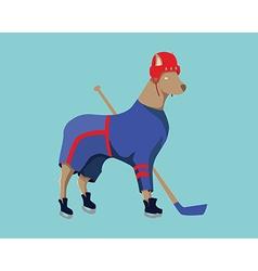 Hockey Dog Mascot in Blue Sportswear vector image vector image