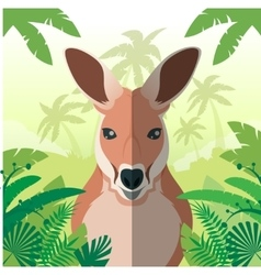 Kangaroo on the Jungle background vector image vector image