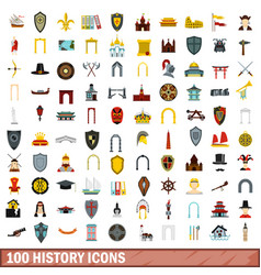 100 history icons set flat style vector image