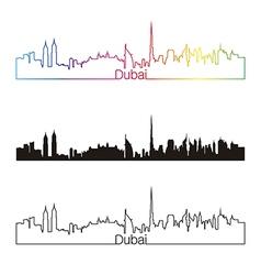Dubai skyline linear style with rainbow vector image