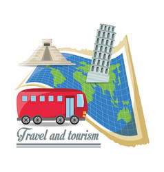 global map with bus and important architectures vector image