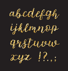 golden glitter alphabet brush glowing font vector image