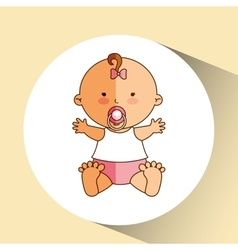 happy baby girl pacifier icon graphic vector image